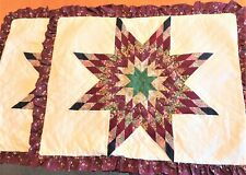 """Set of 2 Star Pattern Country Ruffled Quilt Shams Standard Size 20 x 26"""""""