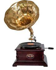 Nostalgie Grammophon Gramophone Dekoration mit Trichter Grammofon Antik-Stil (g)
