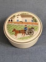 Villeroy & Boch Laplau Design Naif The Seasons #7 TRINKET BOX Horse & Cart Barn