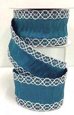 "Linen Wired Ribbon~Mediterranean, Silver Thread Edge~2 1/2"" W x 10 Yds"