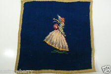 Vintage handmade Needle Point Tapestry Chair Canvas Lady Figural Blue 10x10