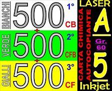 1500 FOGLI 3 COPIE CARTA COPIATIVA X STAMPANTI LASER INKJET A5 CARBONLESS PAPER