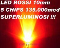 n°1 LED ROSSO RED 10mm 10 mm Alta Luminosità 135.000mcd 40° Potenza 100mA 0,5W