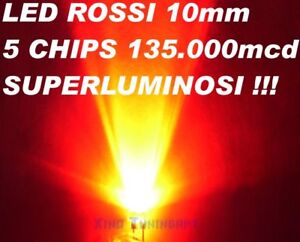 N° 1 LED Red Red 10mm 10 MM High Brightness 135.000mcd 40° Power 100mA 0,5W