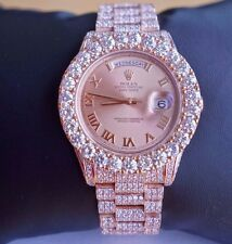 27 Cts White Diamonds Rolex Day-Date II 18K Rose Gold Watch 218235 Video ASAAR