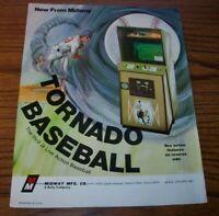 Tornado Baseball Arcade FLYER Original Midway Video Game Artwork Sheet 1976
