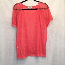 CD Daniels 2X Blouse Pink Lace Overlay Short Sleeve Scoop Neck Sequence Casual