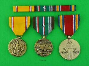 3 WWII Army Medals & Ribbon Bar - American Defense, European Theater, Victory
