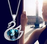 Schwan Halskette Collier Blau mit Swarovski® Kristallen Herz Silber 18K Weißgold