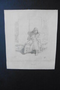 FRENCH SCHOOL 19thC - MOTHER NURSING HER BABY - MONOGR. PENCIL DRAWING