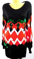 Holiday Time black chevron sequins long sleeves ugly Christmas tunic sweater 1X