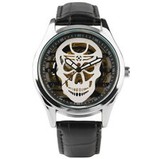 Trendy Men Skull Hand Wind Mechanical Wrist Watch Black Leather Band Xmas Gift