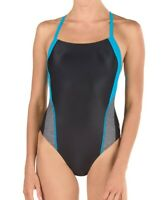 Speedo Womens Swimwear Blue Black 6 /32 Heather Splice ProLT Swimsuit $49- 017