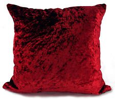 "Set of 4 Cushions + Covers Crushed Velvet 17""X 17"" Wine Filled"