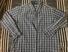 Omega Italy Dress Long Short Sleeve Button Front Shirt Plaid Blk Mens Size XL