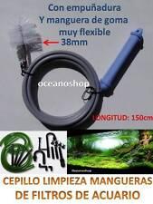 LIMPIA TUBOS algas filtro ACUARIO 150cm CEPILLO de 38mm MANGUERA con EMPUÑADURA