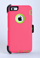 iPhone 6 Plus & iPhone 6s Plus Defender Hard Case w/Holster Belt Clip Pink/Green