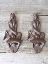 2 Cast Iron Rustic Mermaid Bottle Opener Wall Mount Mountable Beach Bar Beer