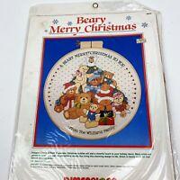 Beary Merry Christmas Dimensions Kit 8053 by Linda Gillum Crewel Vintage 1986