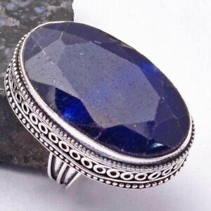 Blue Sapphire Ethnic Handmade Antique Design Ring Jewelry US Size-6.5 AR 38541