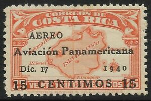 STAMPS-COSTA RICA. 1940. Error 15c on 25c Orange. SG: 275a. Mint Never Hinged