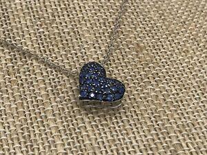 New 14K Sapphire White Gold Heart Pendant Necklace