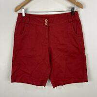 Suzannegrae Womens Shorts 10 Red Button Closure Bermuda
