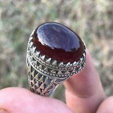 RED Yemeni Aqeeq Akik Hakik RED Agate Men 925 Sterling silver SUFI Men Ring