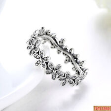 Authentic 925 Sterling Silver Dazzling Daisy Meadow Clear CZ Ring Size  6 7 8