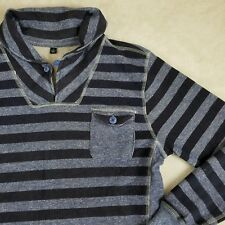 Vive Shirt New York Men's Cowl Neck Striped Sweater Knit Blue Sz Small GIFT!