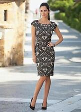 Together Champagne/black Dress With Beaded Neck Size 18 (r13)