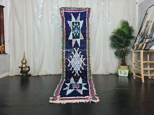 "Moroccan Vintage Handmade Runner Rug 2'4""x9'3"" Geometric Berber Blue Cotton Rug"