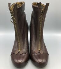 Fly London Fly Girl Ankle Boot Zip Front Brown Leather High Heel Size 37EU 6.5US