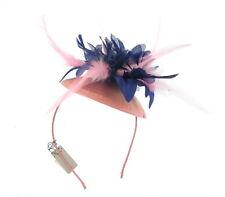 Pink and navy fascinator hatinator headband, weddings, Ascot races prom