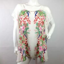 Nue Options Women's Plus 3X Short Sleeve Blouse Floral Lace NWT Lined