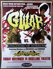 GWAR & KINGDOM OF SORROW 2008 Gig POSTER Portland Oregon Concert