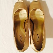 New Women Size 10 B. Monica RSVP Gold Satin Open Toe In Original Box