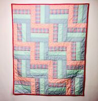 Lovely Baby Quilt Pastel Gingham Floral Stars Girl Pink Green Blue Blanket Small
