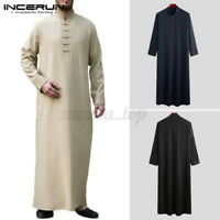 Men's Saudi Thobe Formal Robe Islamic Muslim Jubba Arabic Kaftan Abaya Dress UK