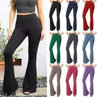 Womens Boot Cut Flared Yoga Pants Trousers Solid Bootleg Loose Workout Fitness O