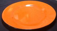 "Vintage Orange  W/ BlacK Edge Graniteware Plate 12"" Round & 1"" Deep In Mint Cond"