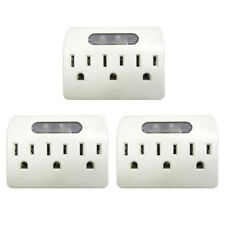 3X 3 Outlet Grounded AC Power W Sensor LED Night Light Wall Tap Adapter AD-32726