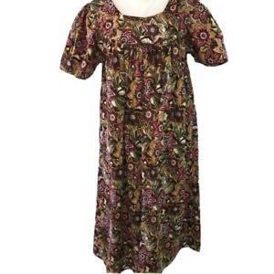 Phases Womens Vintage Lounge Dress Cotton Green Brown Short Sleeve Medium M