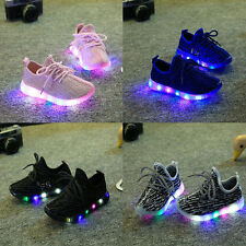 LED Light Up Kids Child Boys Girls Trainers Knitted Sneakers Luminous Shoes Hot