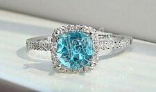 0.70ct NATURAL DIAMOND BLUE TOPAZ 14kWHITE GOLD WEDDING ENGAGEMENT COCKTAIL RING