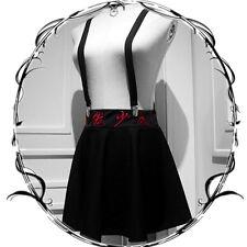 Japanese Gothic Embroidery Slim Black A-line Braces Skirt Harajuku Cool Girls