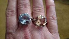 2 Huge GORGEOUS 925 Silver Sterling Rings 14k Plated Blue Topaz & Citrine Sz 8.5