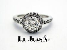 .71 Carat Center Diamond plus .33Ct side, Halo Engagement Ring 14K White Gold