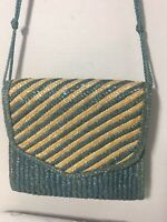 Vintage Blue & Natural Straw Cross Body Bag Clutch Shoulder Bag Hong Kong 1980's