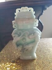 OUTSTANDING ANTIQUE CHINESE JADE VASE WITH DRAGONS